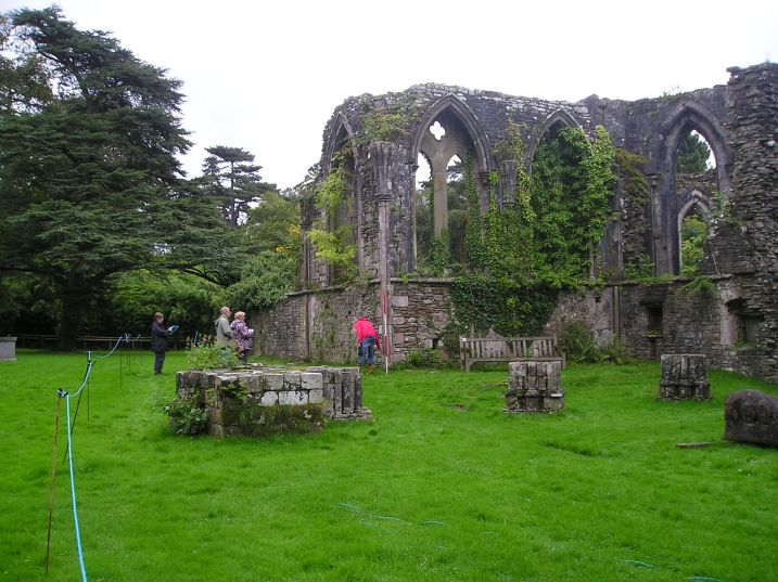 Volunteers recording the upstanding remains of Margam Abbey