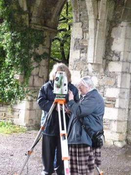 Volunteers using the total station